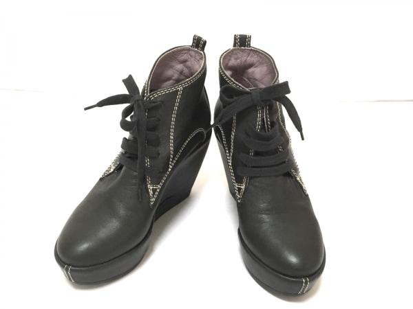 ルコライン ショートブーツ 36 レディース美品  黒 ウェッジソール/フラワー レザー