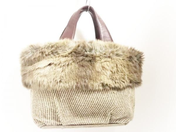 LAZY SUSAN(レイジースーザン) ハンドバッグ美品  ベージュ×グレー×ダークブラウン