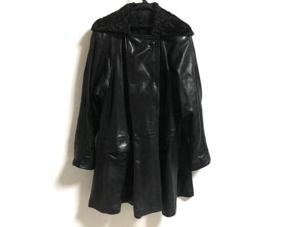 RUFFO(ルッフォ) コート サイズ42 L レディース 黒 レザー/冬物