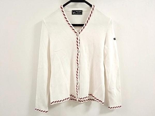 SAINT JAMES(セントジェームス) カーディガン レディース美品  白×レッド