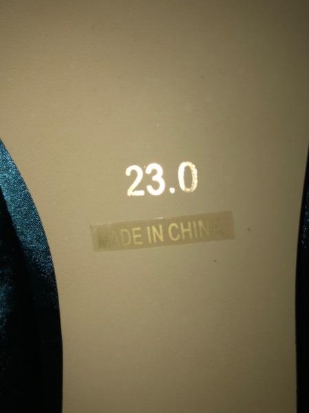 ボアソン ショコラ パンプス 23.0 レディース美品  グリーン×ネイビー