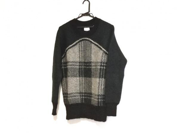 マメ 長袖セーター サイズ1 S レディース美品  ダークグリーン×ライトグレー×黒