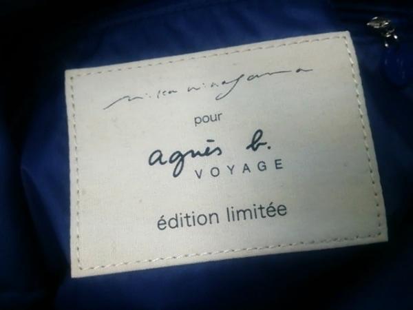 agnes b(アニエスベー) トートバッグ ブルー×ネイビー×グリーン フラワー ナイロン