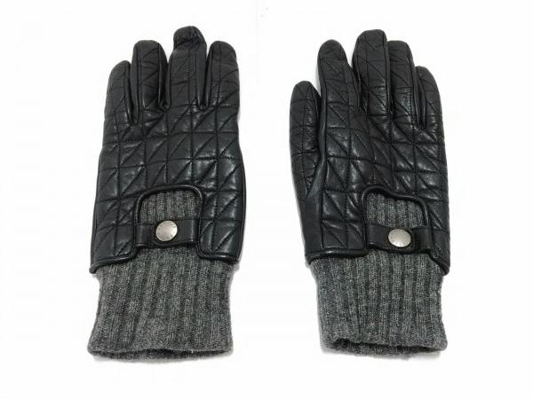 JOSEPHABBOUD(ジョセフアブード) 手袋 メンズ 黒×グレー レザー×ウール