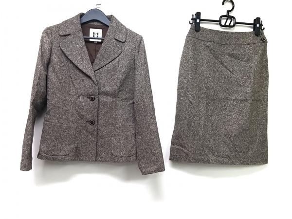 ミュゼドウジ スカートスーツ サイズ38 M レディース ライトグレー×ダークグレー×黒