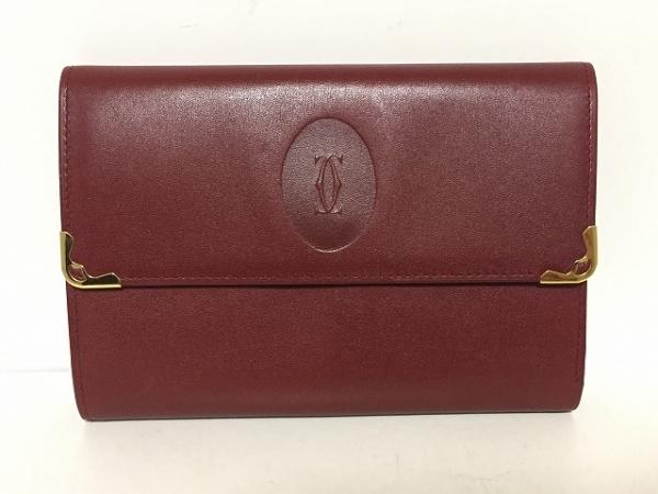 Cartier(カルティエ) 3つ折り財布 マストライン ボルドー×ゴールド レザー×金属素材
