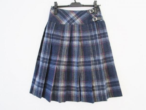 オニール 巻きスカート サイズ40(I) M レディース美品  ネイビー×グレー×マルチ