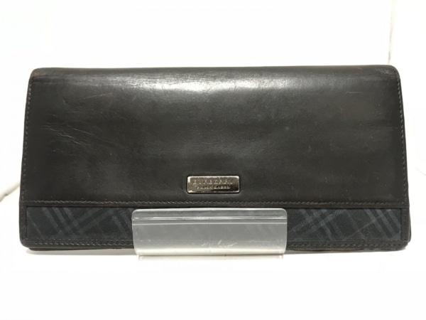 Burberry Black Label(バーバリーブラックレーベル) 長財布 黒 レザー×化学繊維