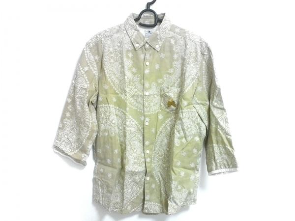 サスクワァッチファブリックス 長袖シャツ サイズXL メンズ美品  カーキ×白