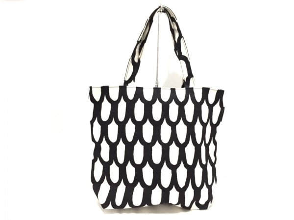 marimekko(マリメッコ) ショルダーバッグ美品  白×黒 キャンバス