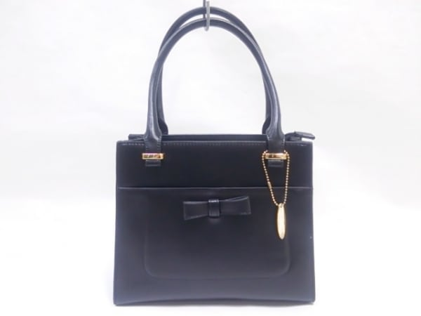 M'S GRACY(エムズグレイシー) ハンドバッグ 黒 リボン/型押し加工 レザー