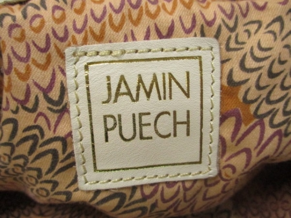 JAMIN PUECH(ジャマンピエッシェ) トートバッグ ベージュ×白 キャンバス×レザー