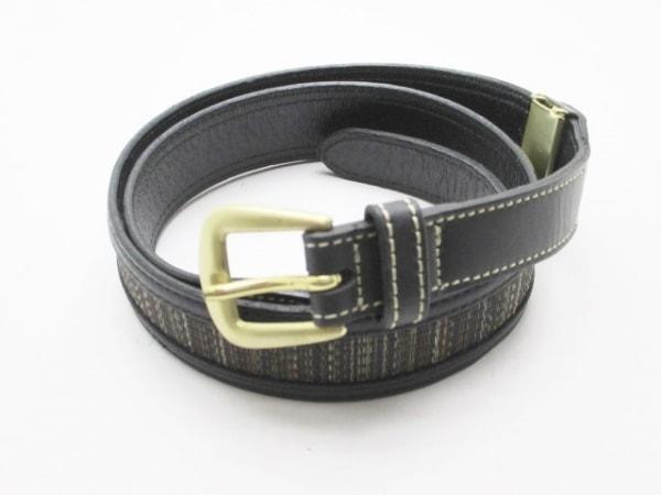ダーバン ベルト美品  黒×ダークブラウン×マルチ レザー×化学繊維×金属素材