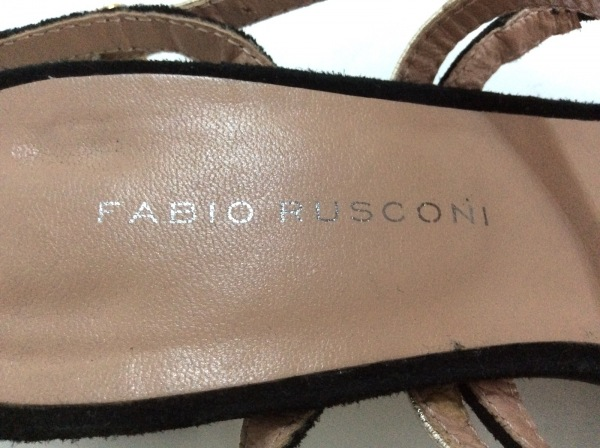 FABIO RUSCONI(ファビオルスコーニ) サンダル 36 1/2 レディース 黒×ゴールド