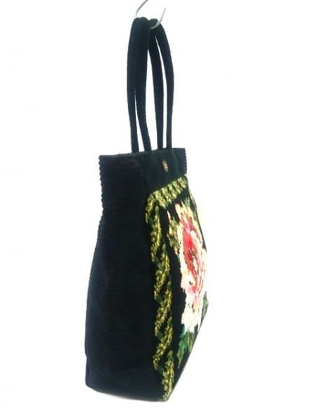 フェイラー トートバッグ 黒×ベージュ×マルチ 花柄/ラメ/メッシュ パイル×化学繊維