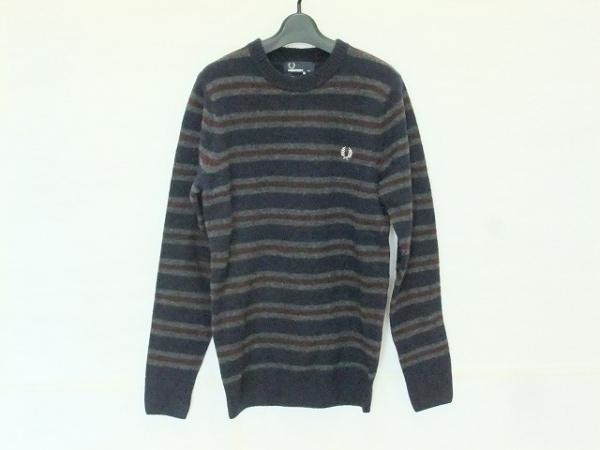 フレッドペリー 長袖セーター サイズXS メンズ美品  ネイビー×グレー×ボルドー