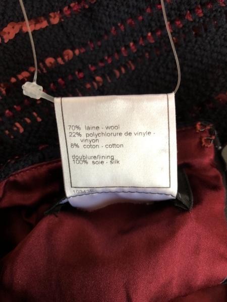 CHANEL(シャネル) スカート サイズ38 M レディース ネイビー×ボルドー