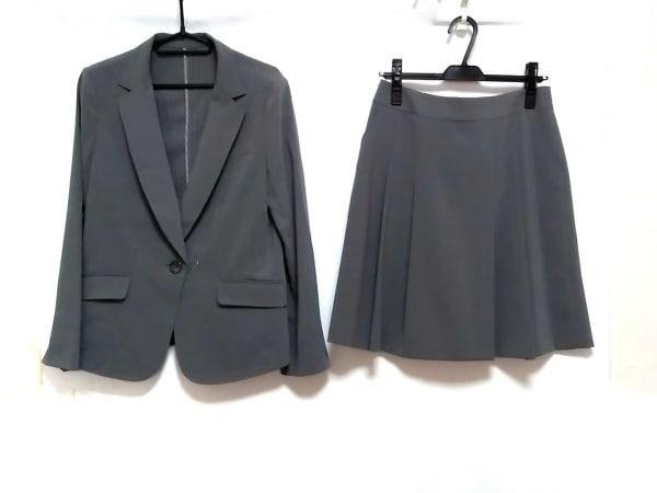 ru(アールユー) スカートスーツ サイズ13 L レディース美品  グレー×ライトグレー