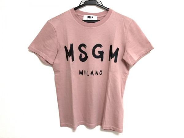 MSGM(エムエスジィエム) 半袖Tシャツ サイズS レディース美品  ピンク×黒