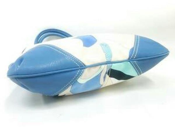 エミリオプッチ ショルダーバッグ アイボリー×ブルー×マルチ キャンバス×レザー