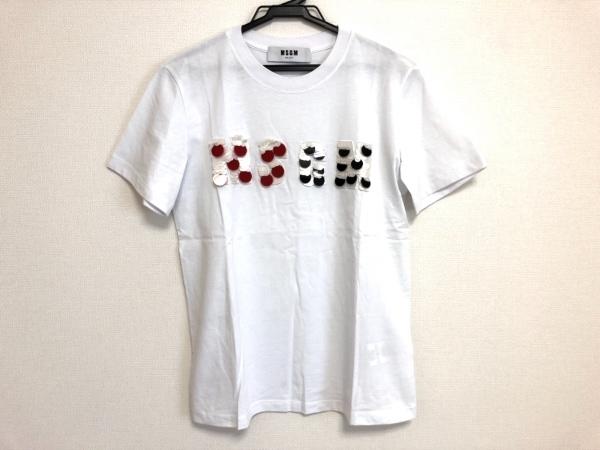 エムエスジィエム 半袖Tシャツ サイズS レディース美品  ライトブルー×白×マルチ