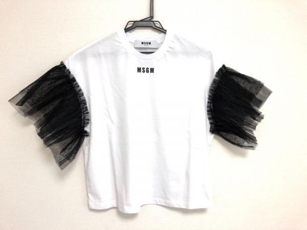 MSGM(エムエスジィエム) 半袖Tシャツ サイズXS レディース新品同様  白×黒 チュール