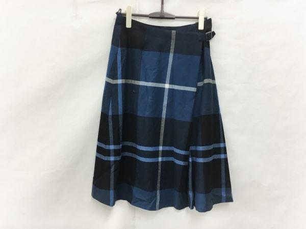 ヨークランド ロングスカート サイズ13AR M レディース ブルー×黒×白 チェック柄