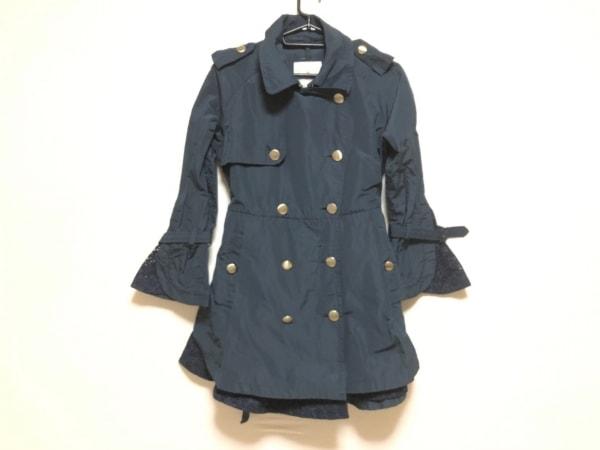 MONCLER(モンクレール) コート サイズ0 XS レディース ネイビー 刺繍/春・秋物