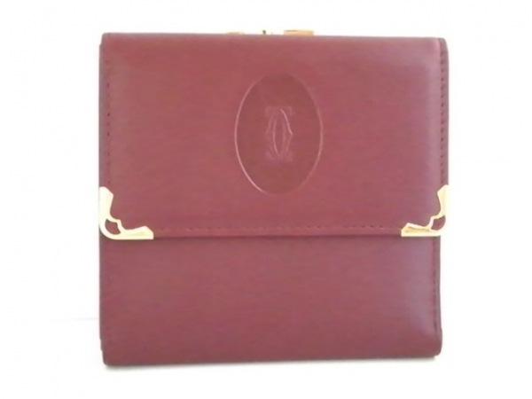 カルティエ 2つ折り財布 マストライン ボルドー×ゴールド がま口 レザー×金属素材