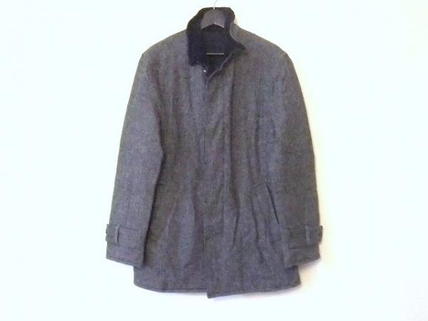 メンズビギ コート サイズ03 L メンズ 黒×ダークグレー リバーシブル/冬物