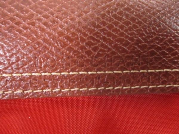 LONGCHAMP(ロンシャン) ハンドバッグ レッド×ブラウン 折りたたみ ナイロン×レザー