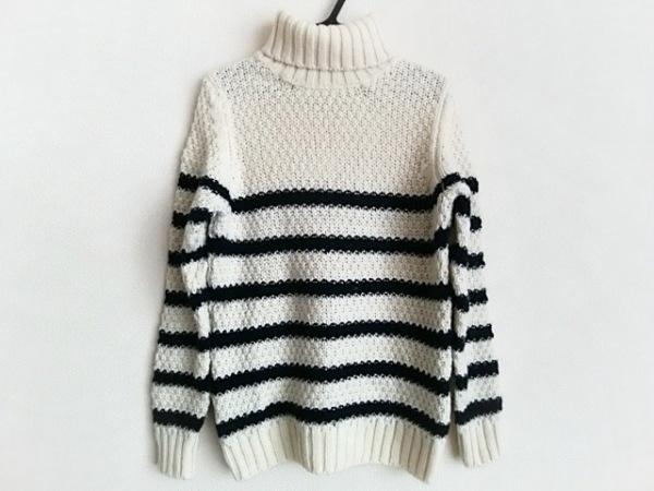 ルトロワ 長袖セーター サイズXS レディース アイボリー×黒 タートルネック/ボーダー
