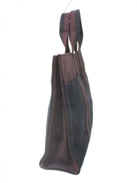 HERMES(エルメス) トートバッグ フールトゥPM 黒×ボルドー キャンバス