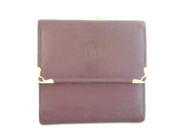 Cartier(カルティエ) 3つ折り財布 マストライン ボルドー×ゴールド がま口 レザー