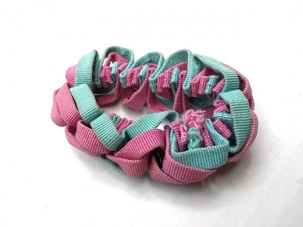 acca(アッカ) シュシュ 化学繊維 ピンク×ライトグリーン