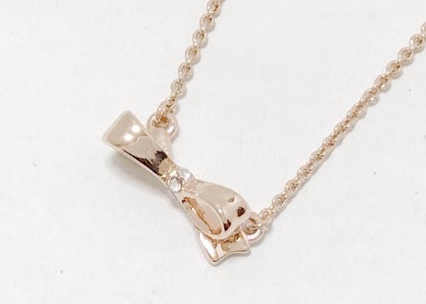 ケイトスペード ネックレス美品  金属素材×ラインストーン ピンクベージュ リボン