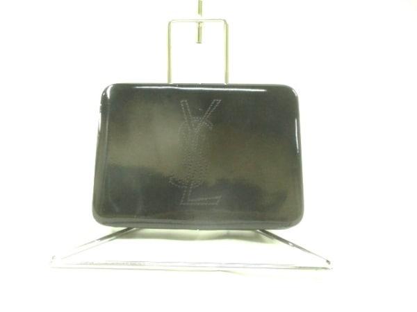 イヴサンローランパフューム クラッチバッグ 黒 エナメル(レザー)