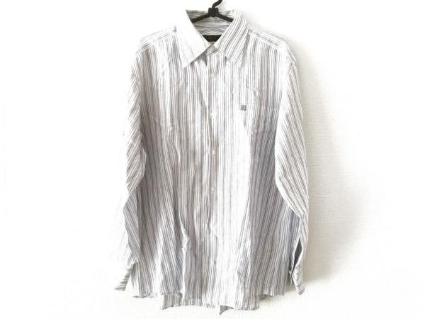 DAKS(ダックス) 長袖シャツ サイズL メンズ 白×ネイビー ストライプ