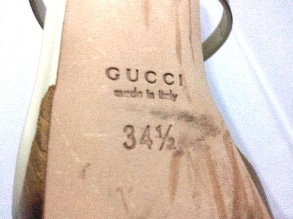 GUCCI(グッチ) サンダル 34 1/2 レディース美品  バンブー アイボリー×ブラウン