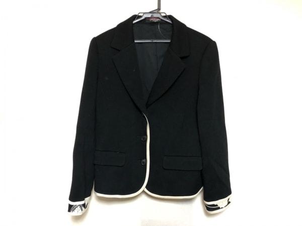 レオナール ジャケット サイズ11 M レディース美品  黒×アイボリー 肩パッド