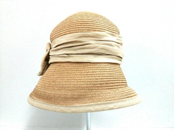 VOGUE(ヴォーグ) 帽子 ベージュ×アイボリー 麻