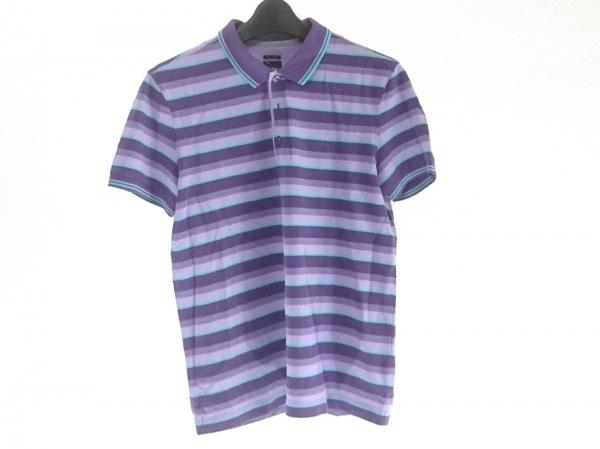 ヒューゴボス 半袖ポロシャツ メンズ パープル×ライトパープル×ライトグリーン