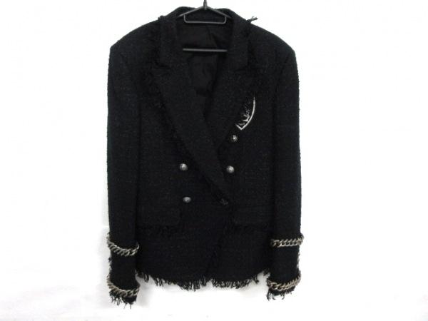 BALMAIN(バルマン) ジャケット サイズ48 XL メンズ 黒×シルバー 18SS/刺繍/チェーン