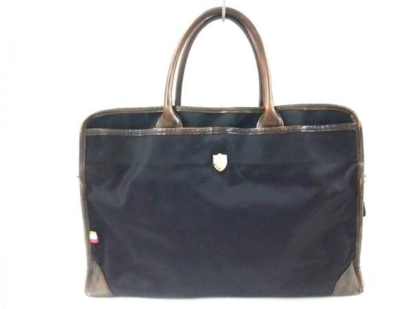OROBIANCO(オロビアンコ) ビジネスバッグ 黒×ダークブラウン ナイロン×レザー