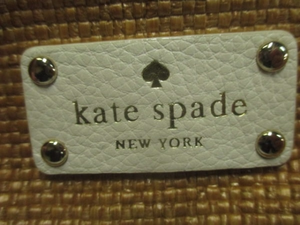 Kate spade(ケイトスペード) ハンドバッグ ライトブラウン×白 ストロー×レザー