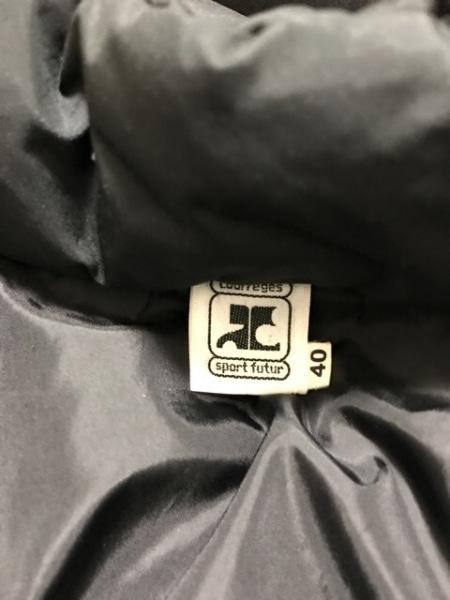 COURREGES(クレージュ) ダウンコート サイズ4011 レディース美品  黒 冬物/ファー