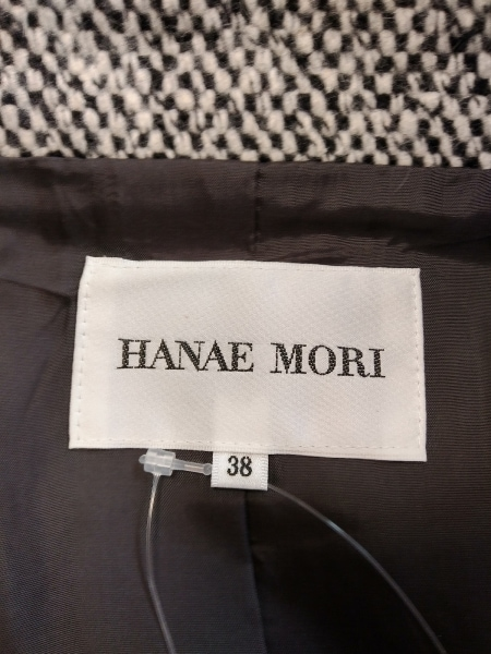 HANAE MORI(ハナエモリ) コート サイズ38 M レディース 白×黒 冬物
