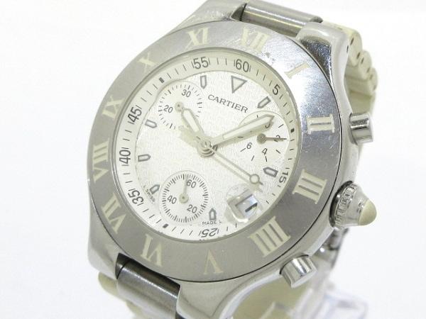 Cartier(カルティエ) 腕時計 マスト21クロノスカフSM - レディース ラバーベルト 白
