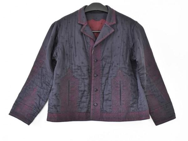 HaaT HeaRT(ハート) コート サイズ3 L レディース ネイビー×ボルドー 刺繍