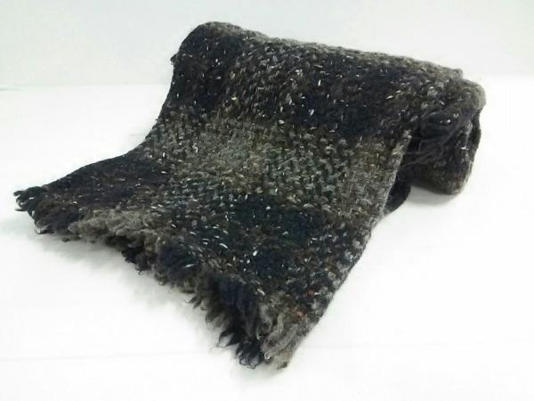 ジョンブラニガンウィーバー ストール(ショール)美品  黒×グレー×マルチ ウール